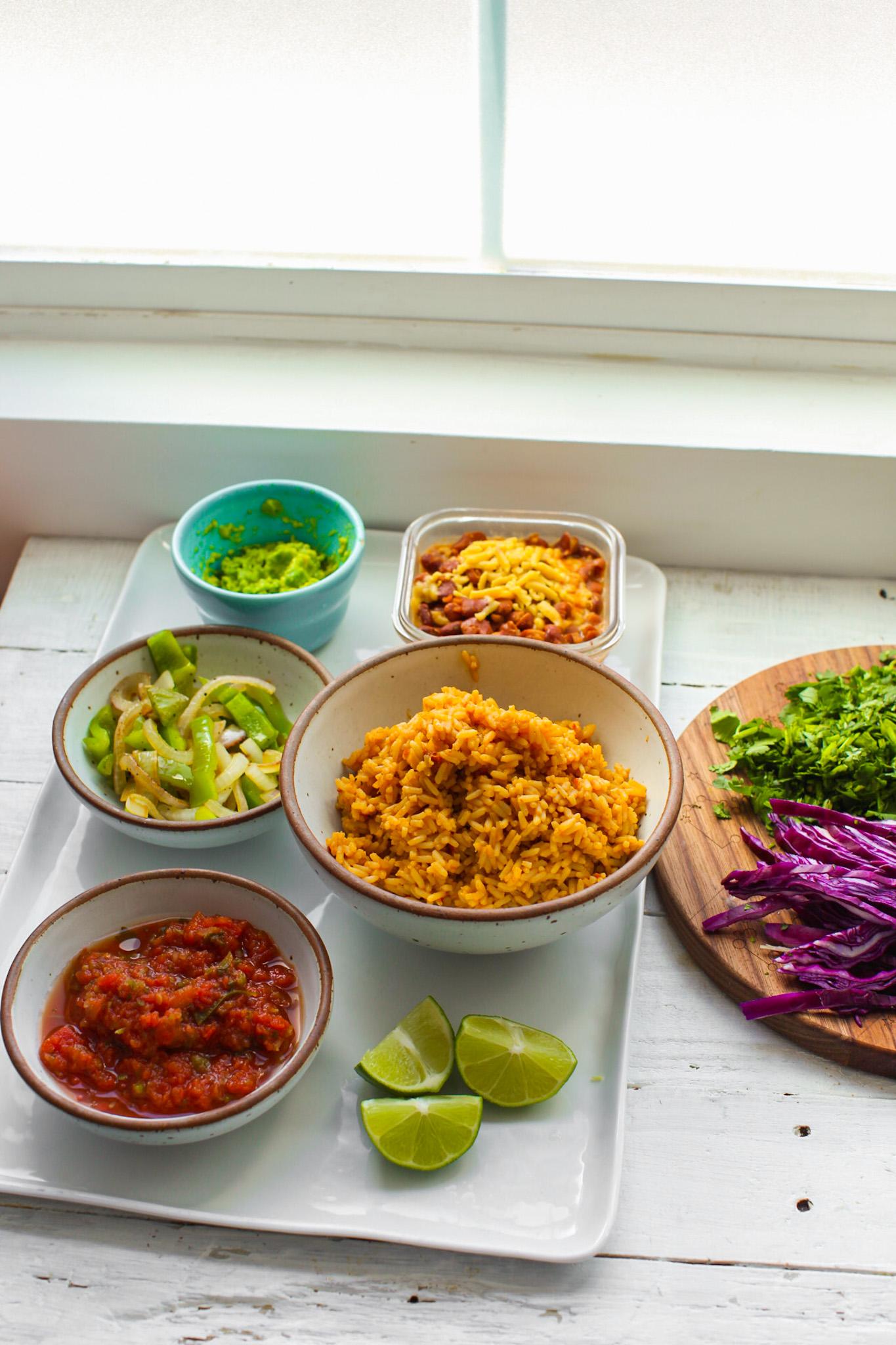 ingredients for a veggie burrito