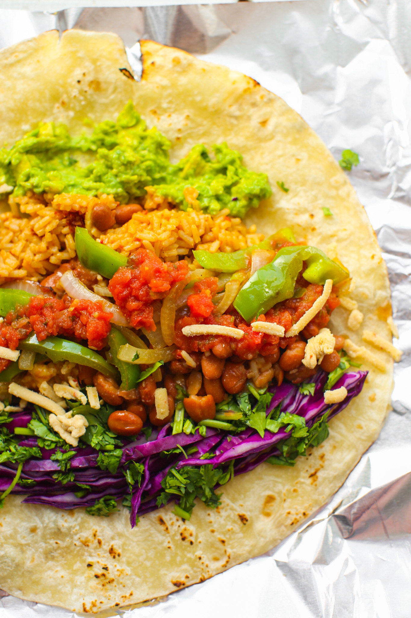 ingredients in a tortilla for burrito