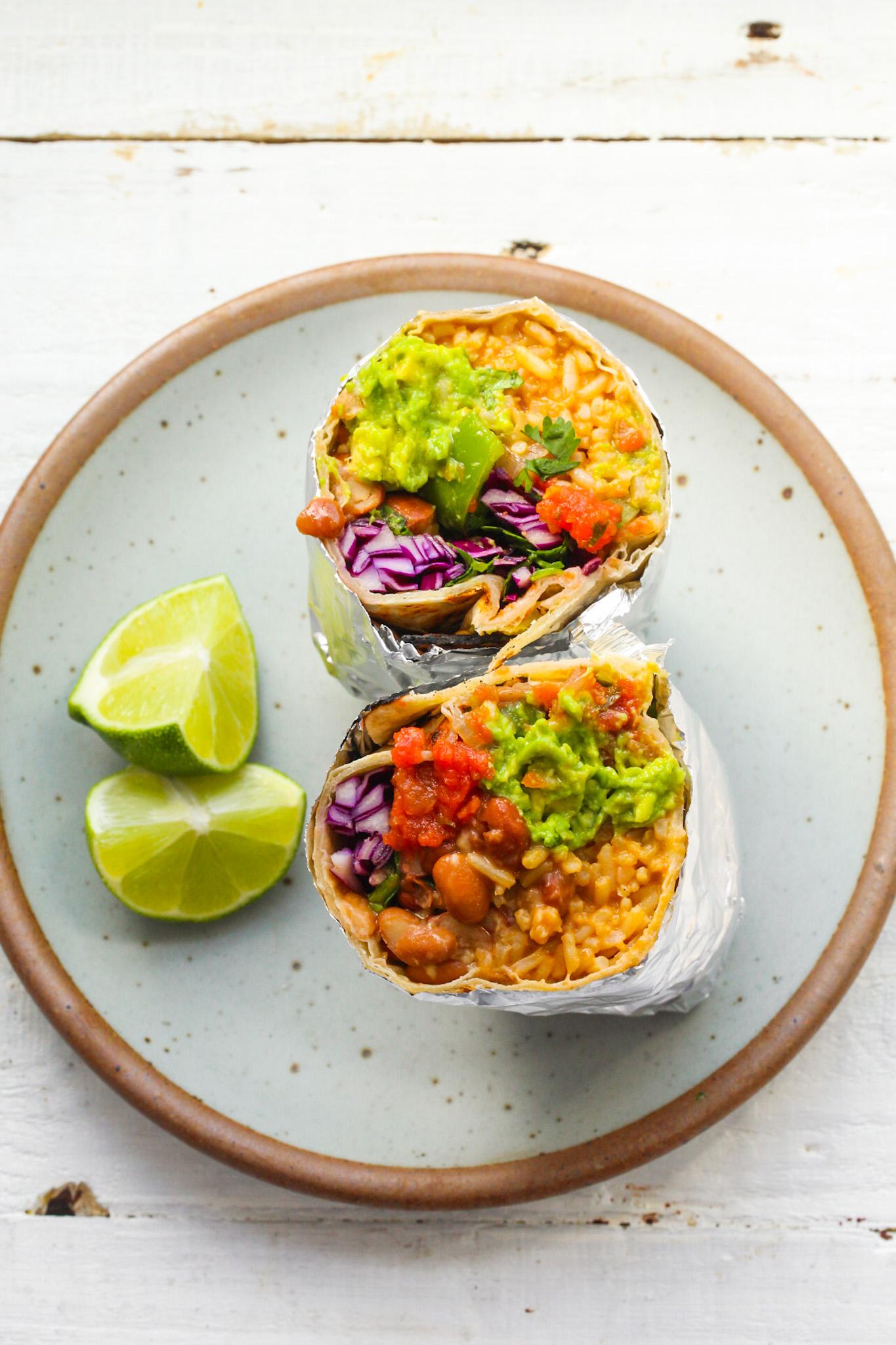 sliced burrito on plate