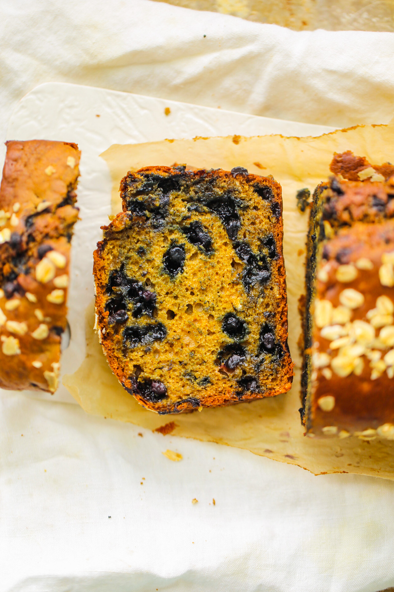 Sliced Vegan Blueberry Loaf