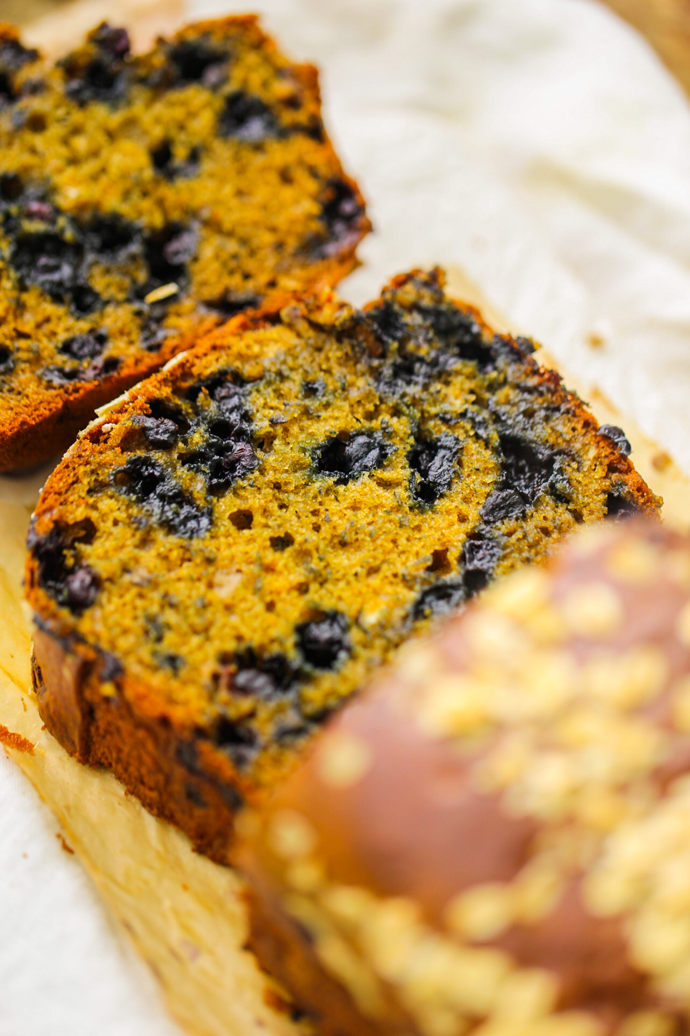 Vegan blueberry Loaf freshly sliced