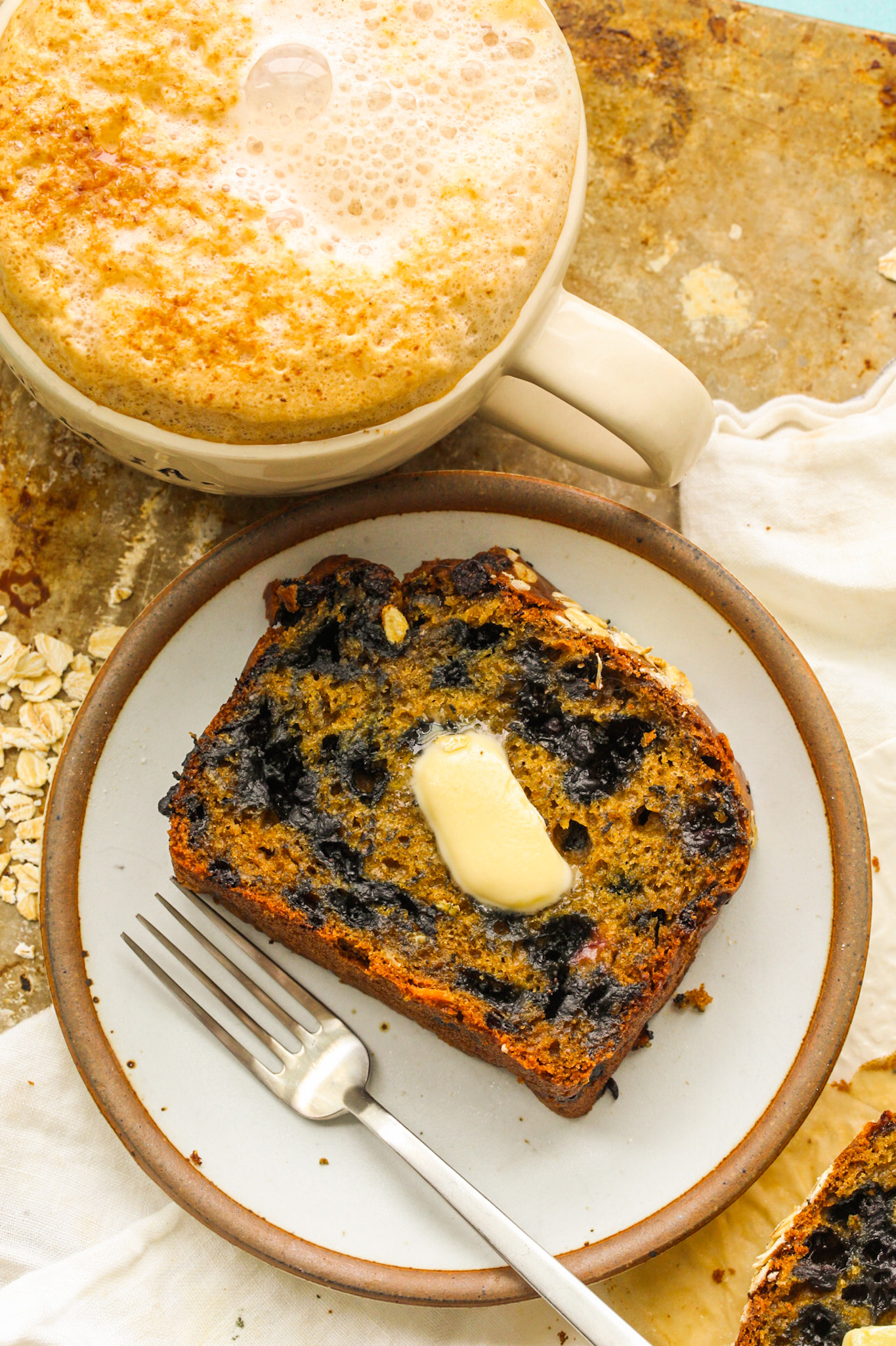 Blueberry Lemon Loaf with latte