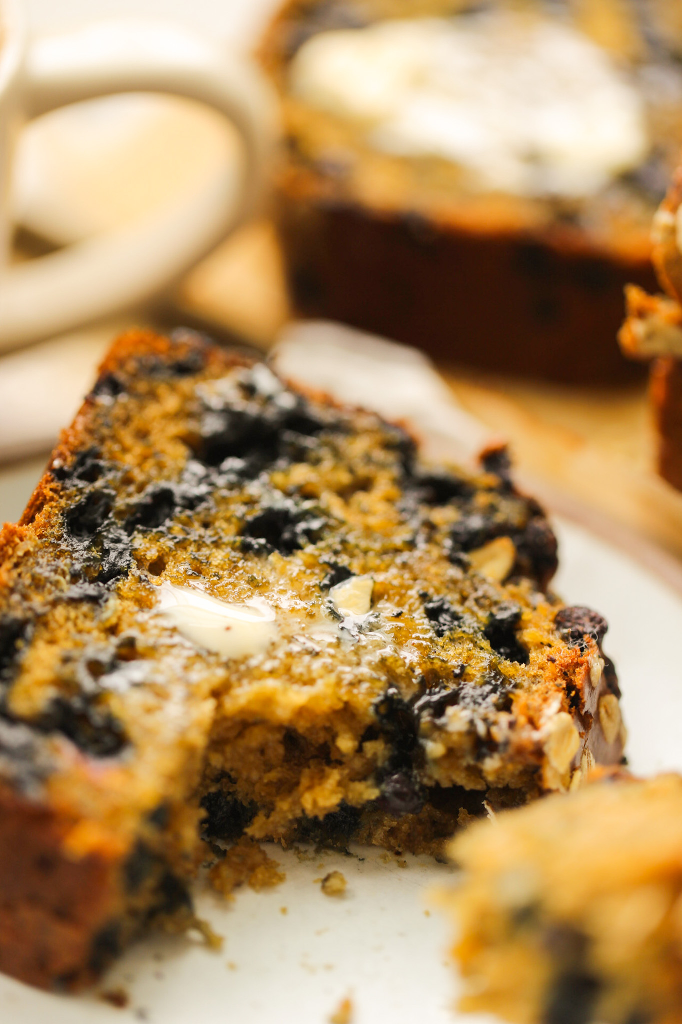 warm blueberry loaf with butter
