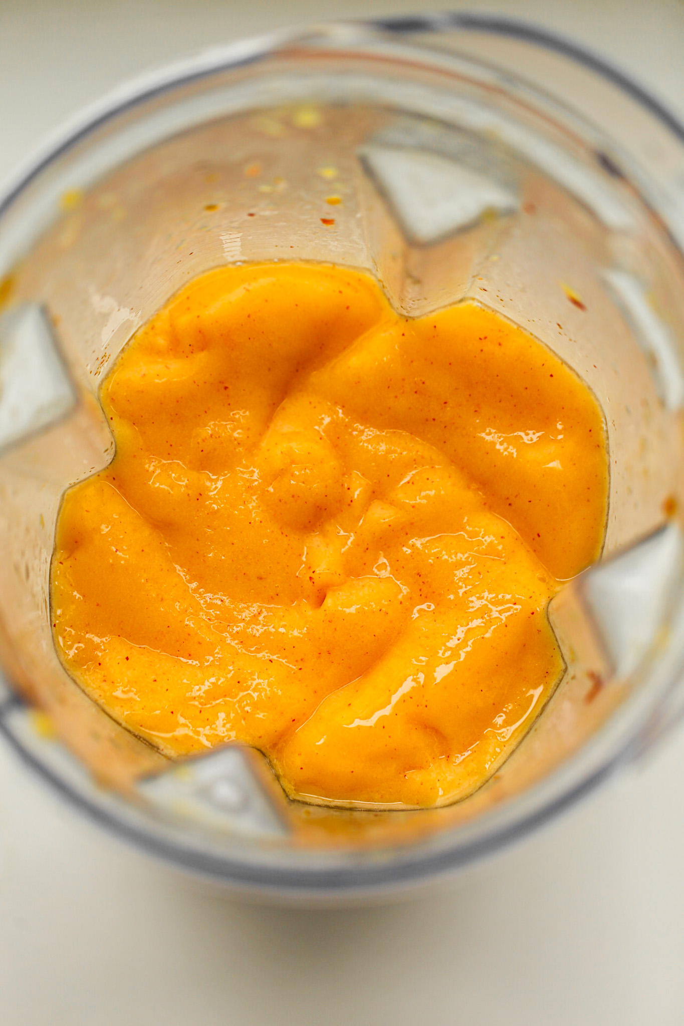 peach smoothie in blender