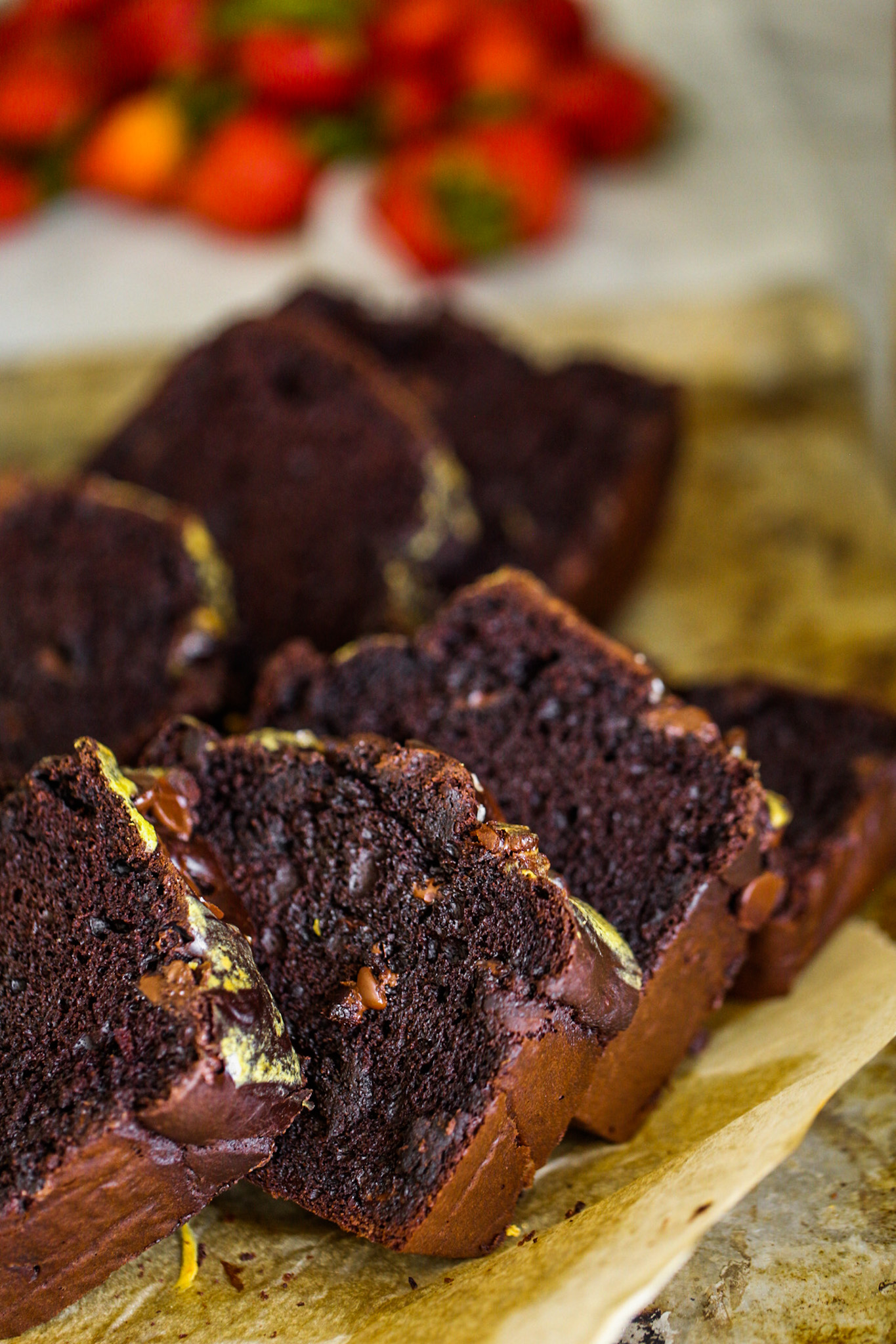 moist and fluffy chocolate loaf slices