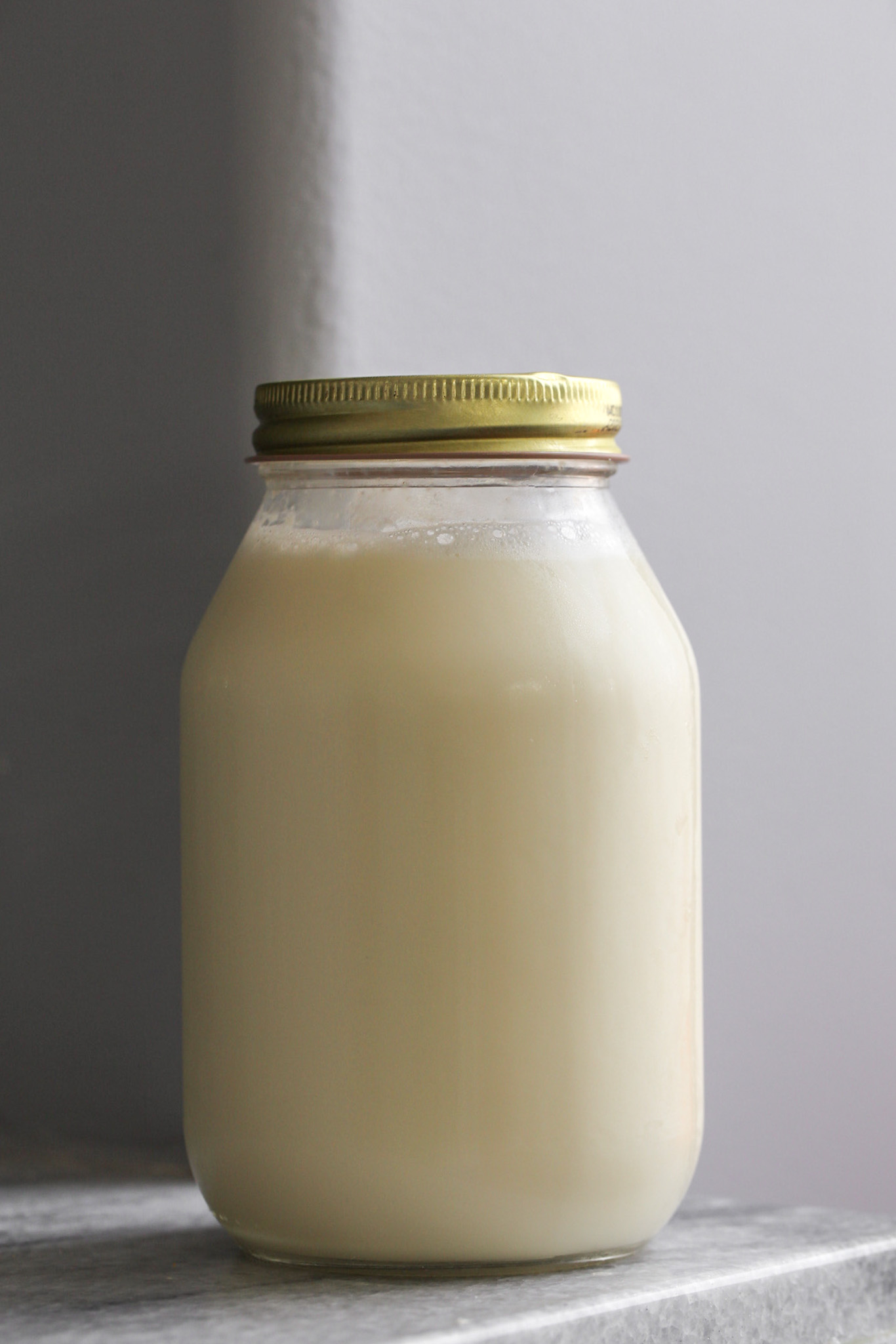 homemade soymilk in jar