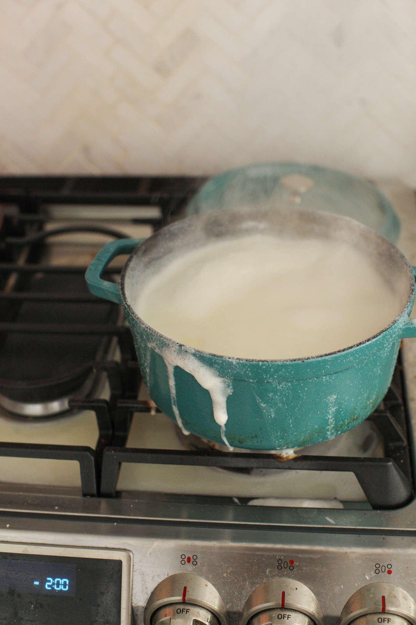 soy milk boiled over on stove