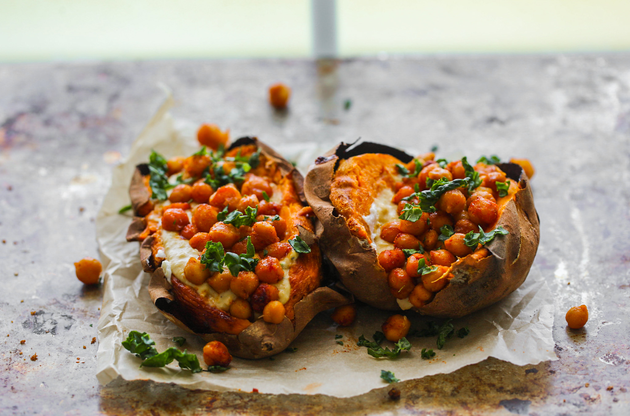 two stuffed sweet potatoes