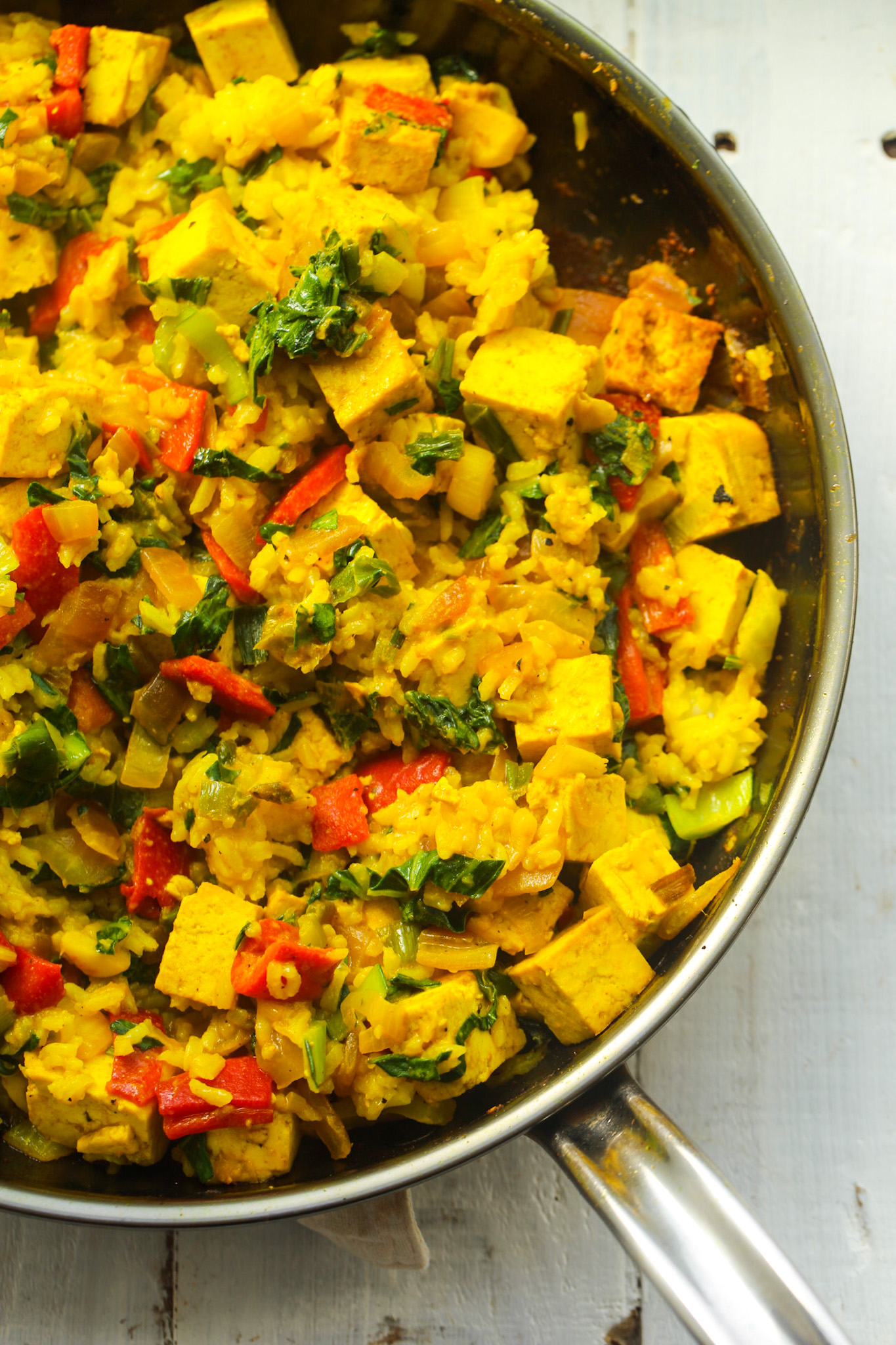skillet of veggie fried rice with tofu