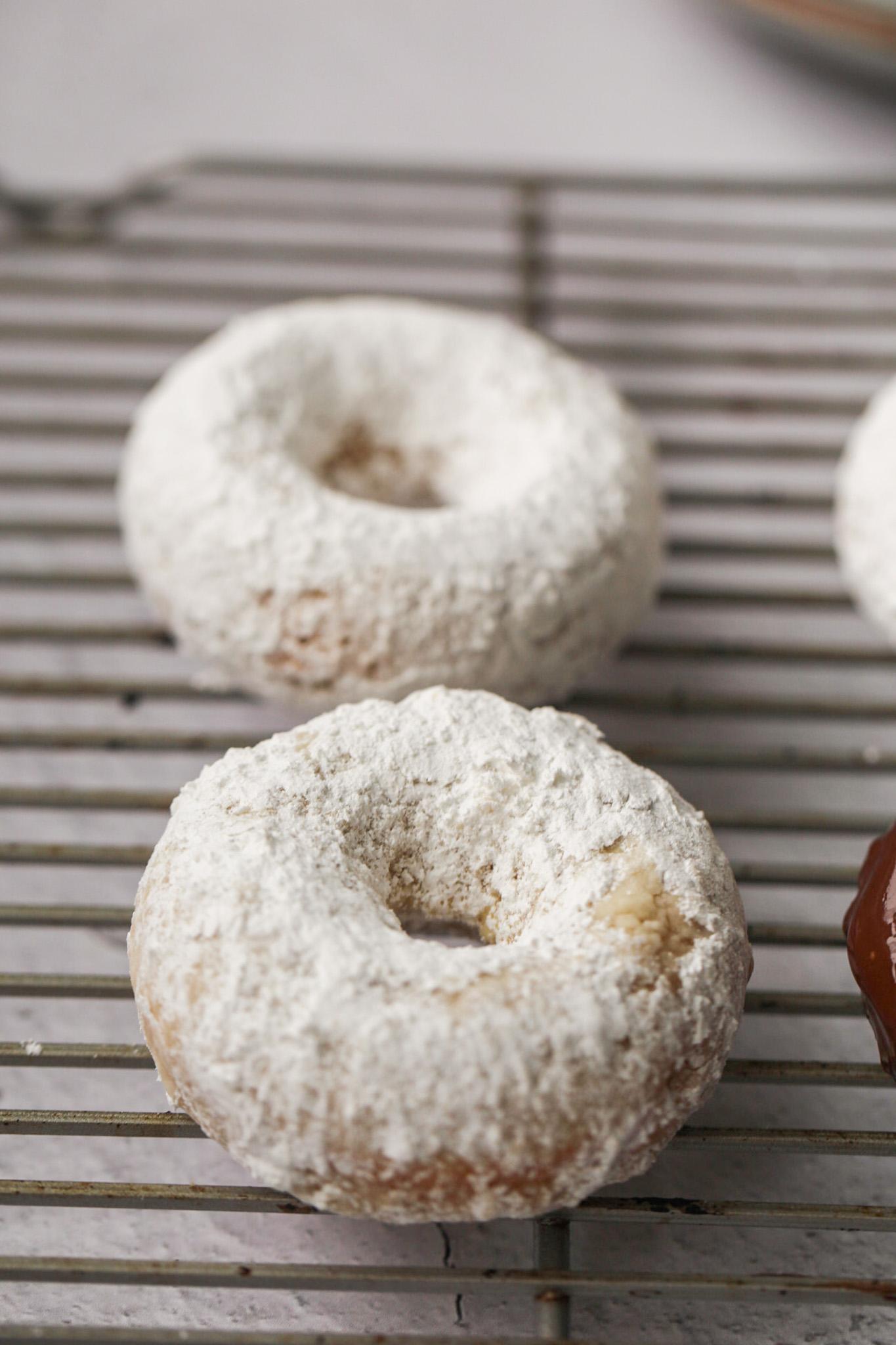 fluffy powder sugar on donut