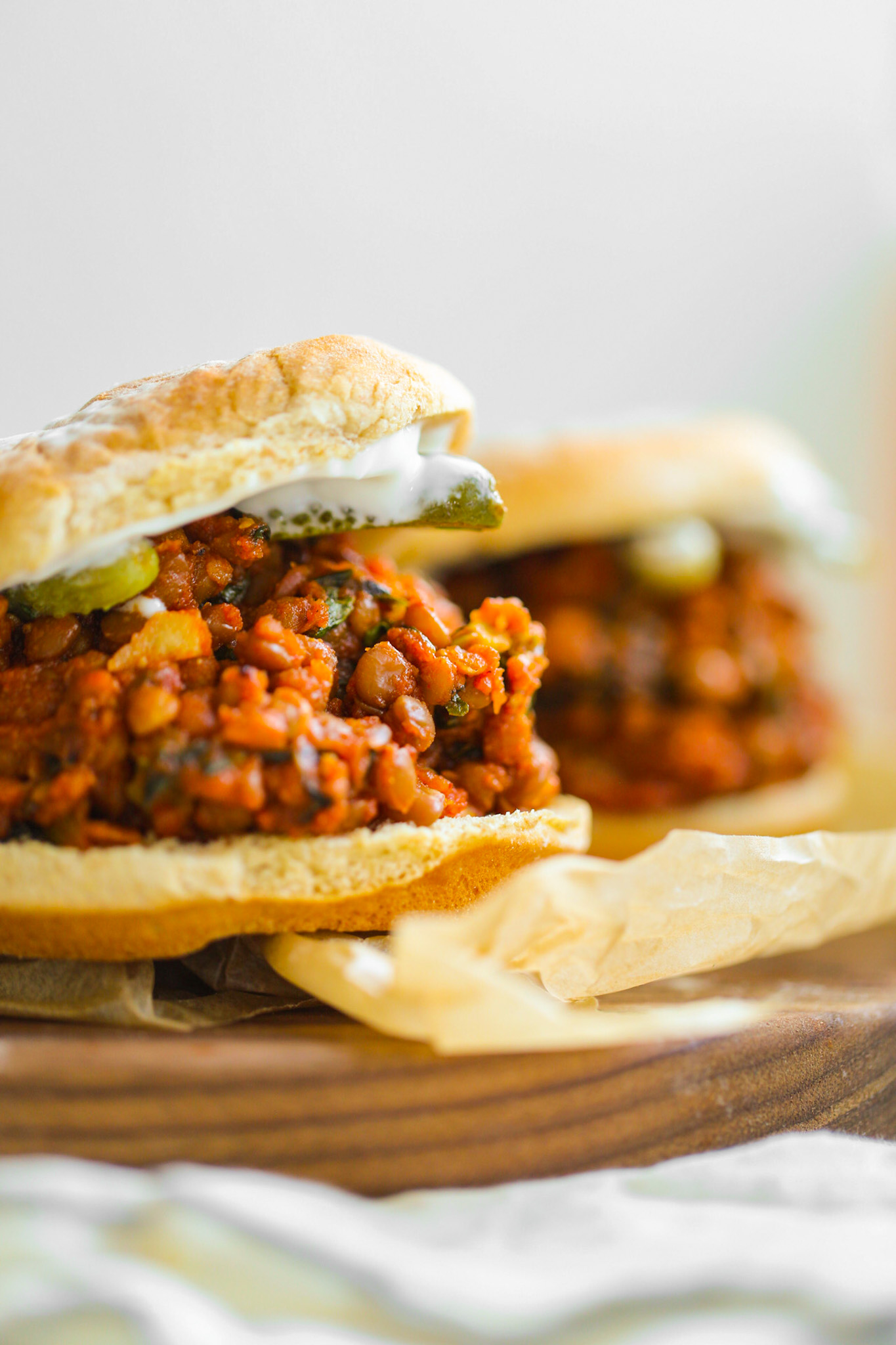 vegan sloppy joes on buns with pickles