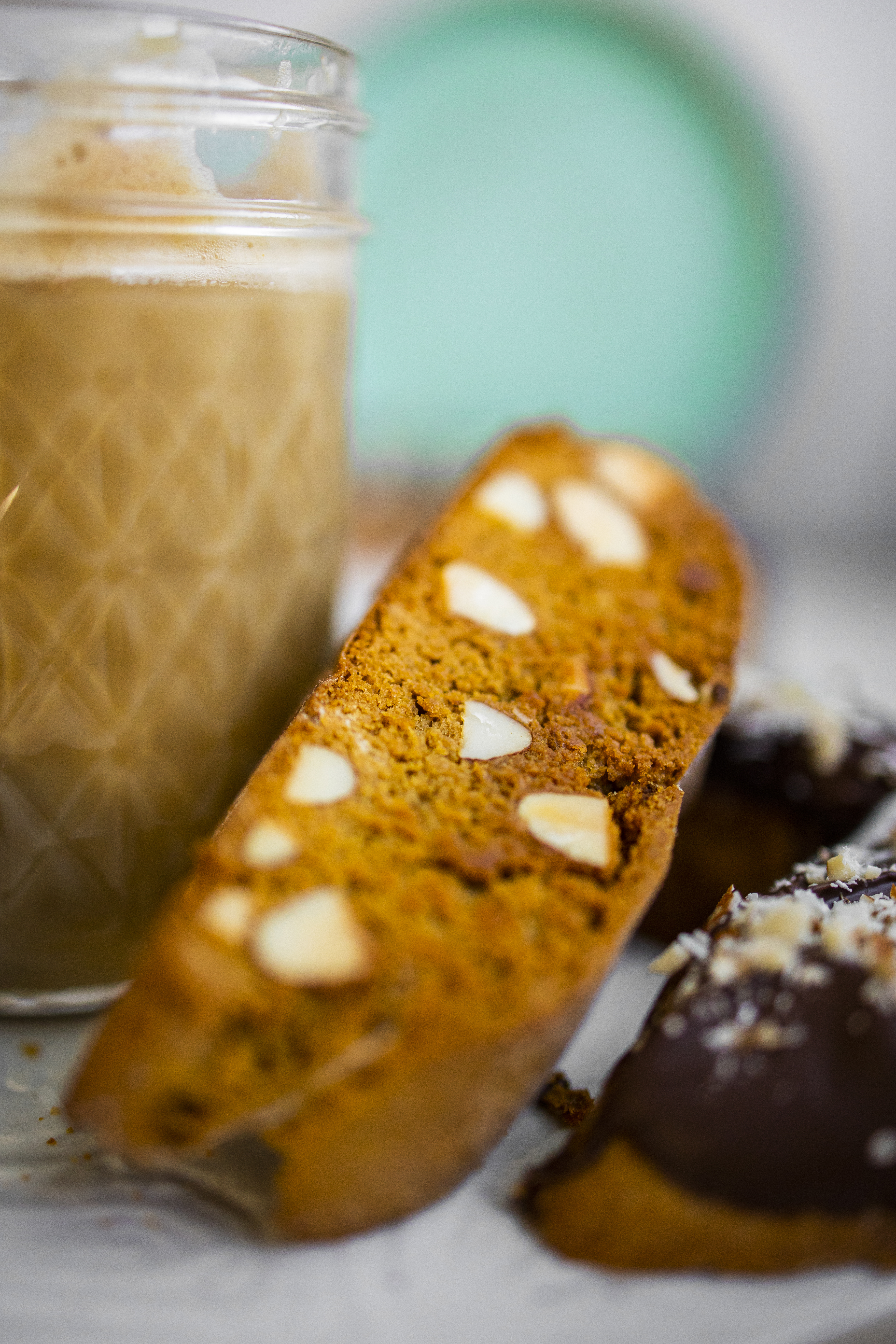 almond biscotti and coffee