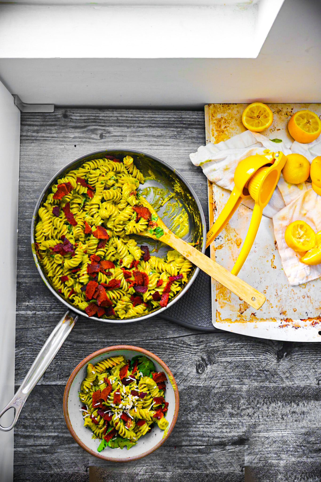 fusilli pasta with pesto