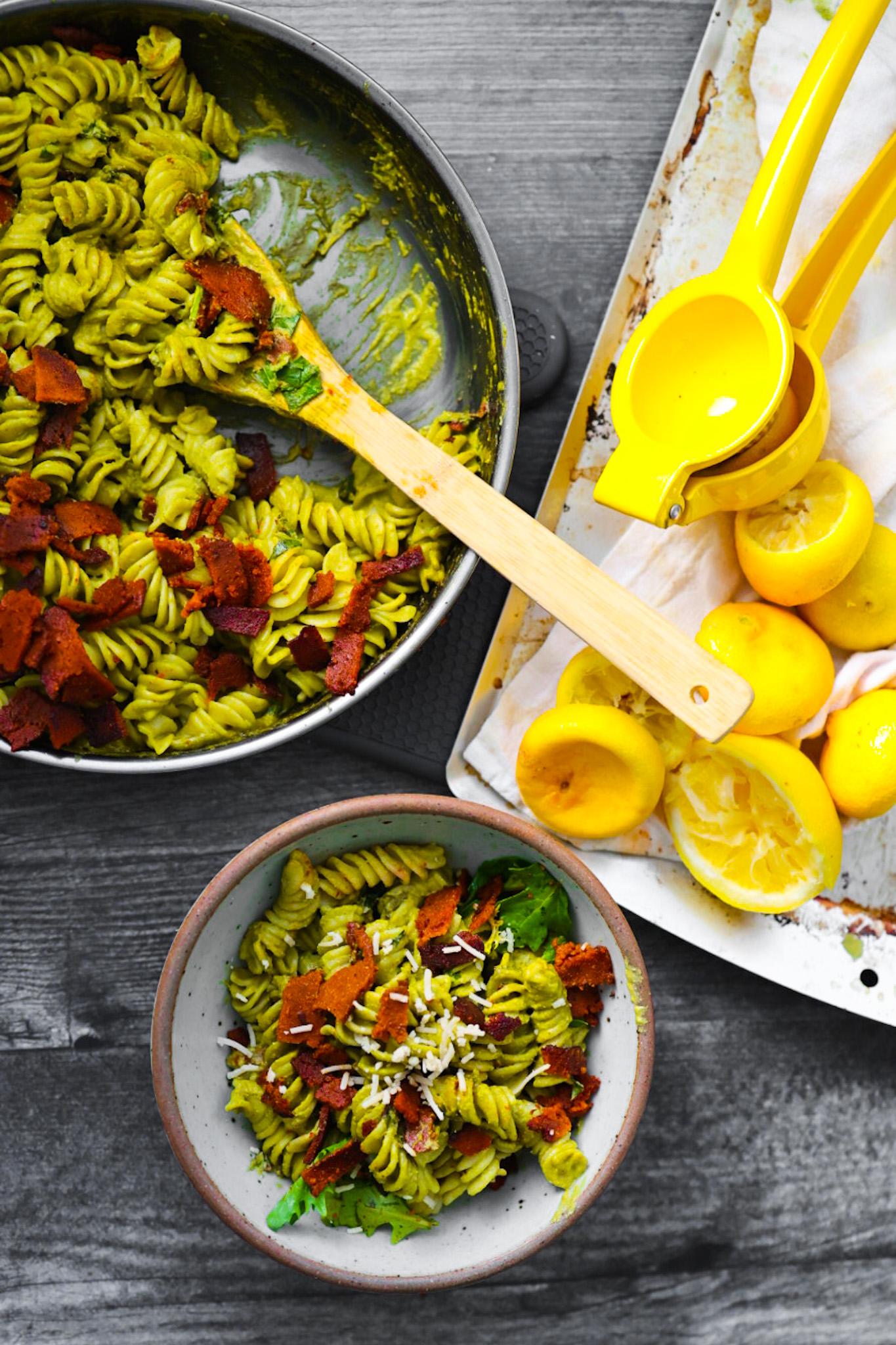 overhead pesto pasta