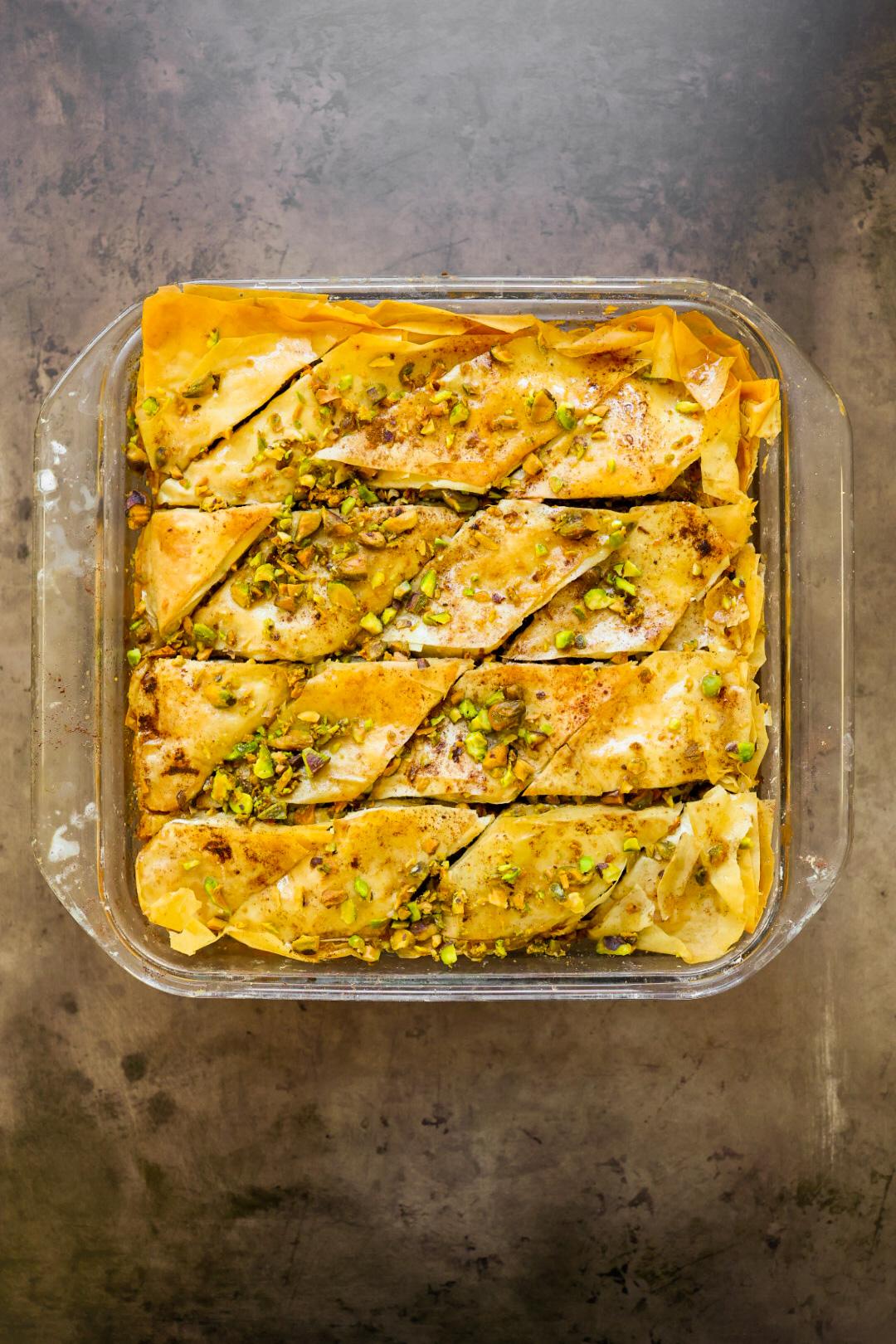 vegan baklava in pan