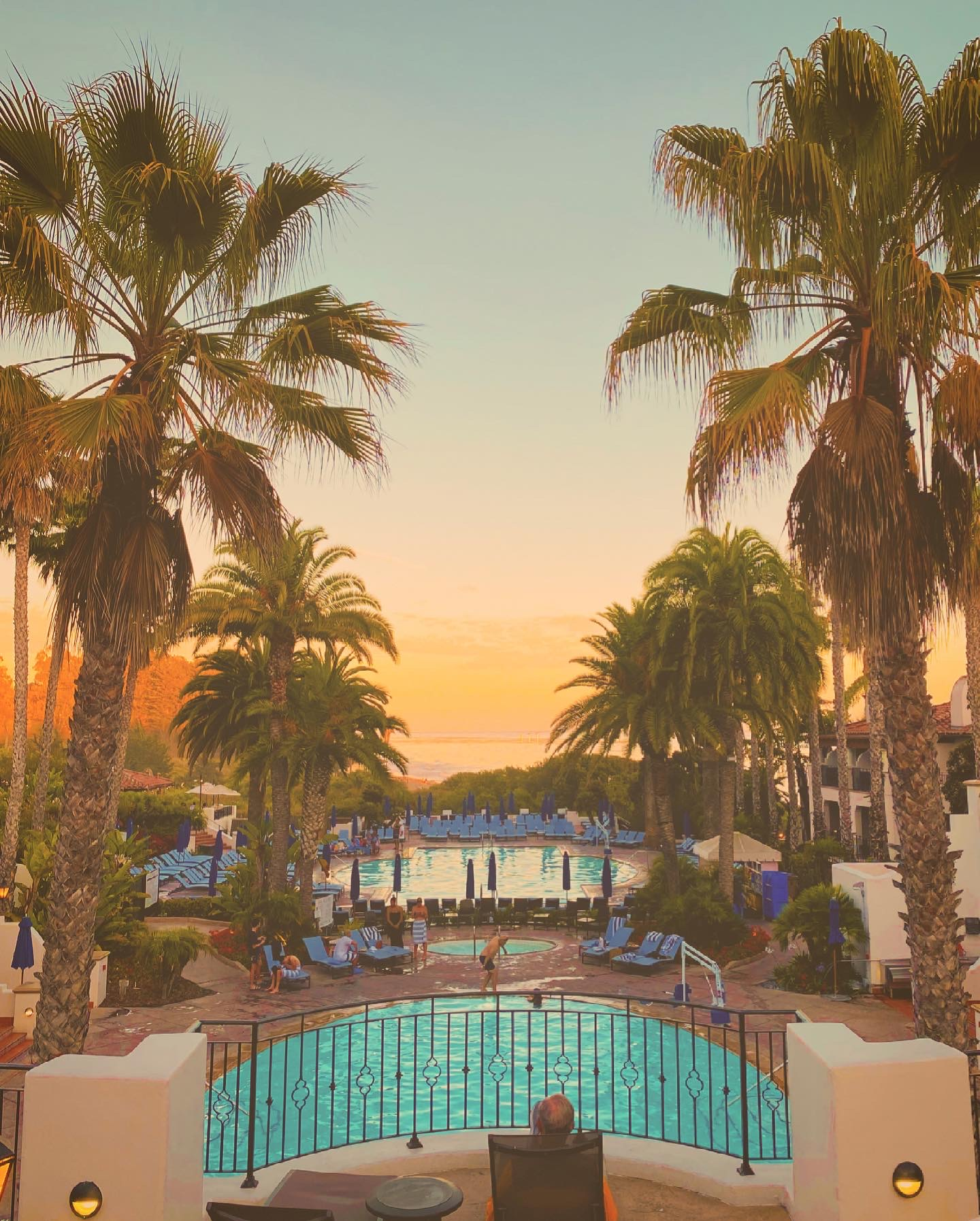 baccarat Santa Barbara pool at sunset
