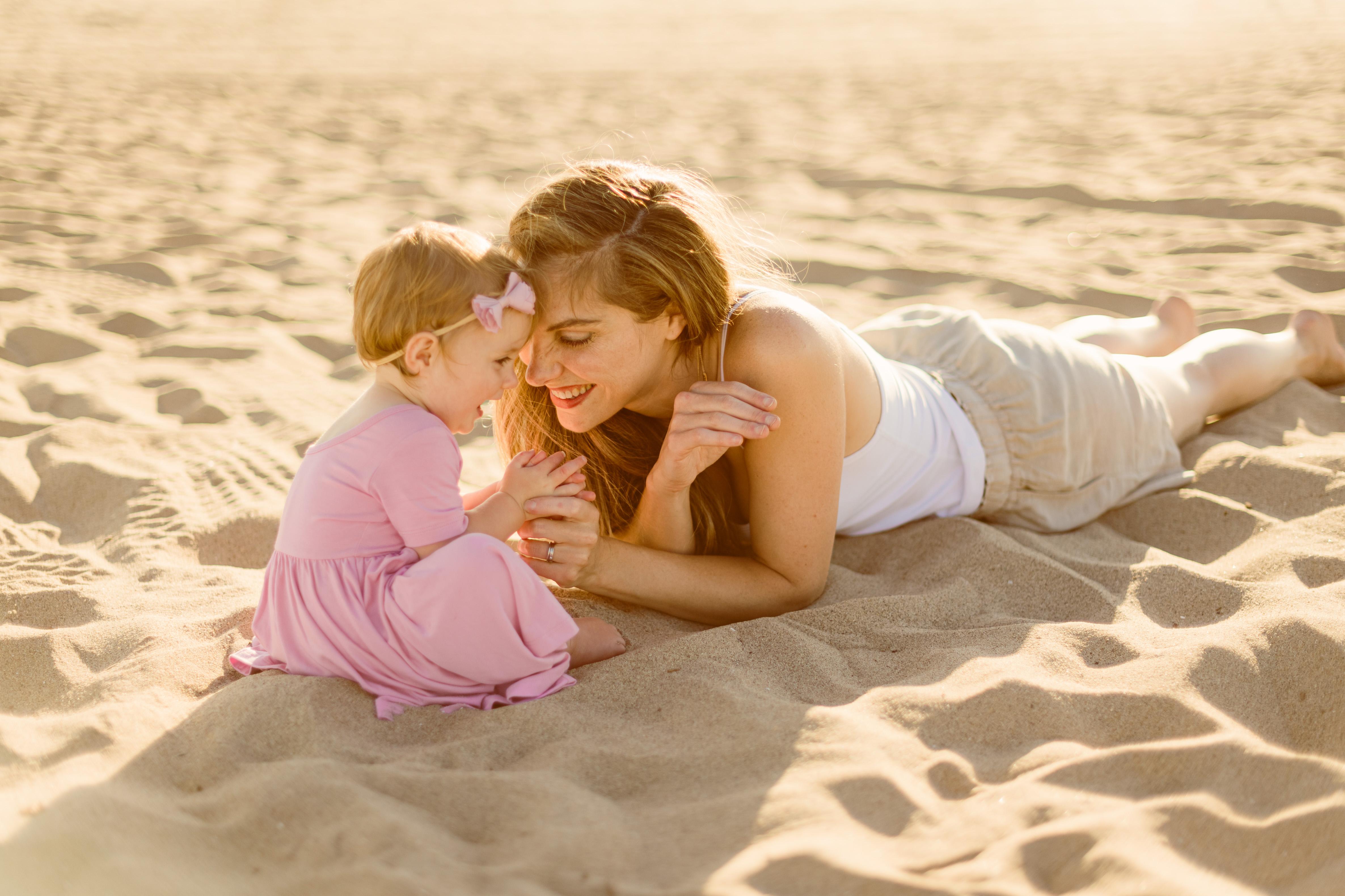 on the beach with Rosalie