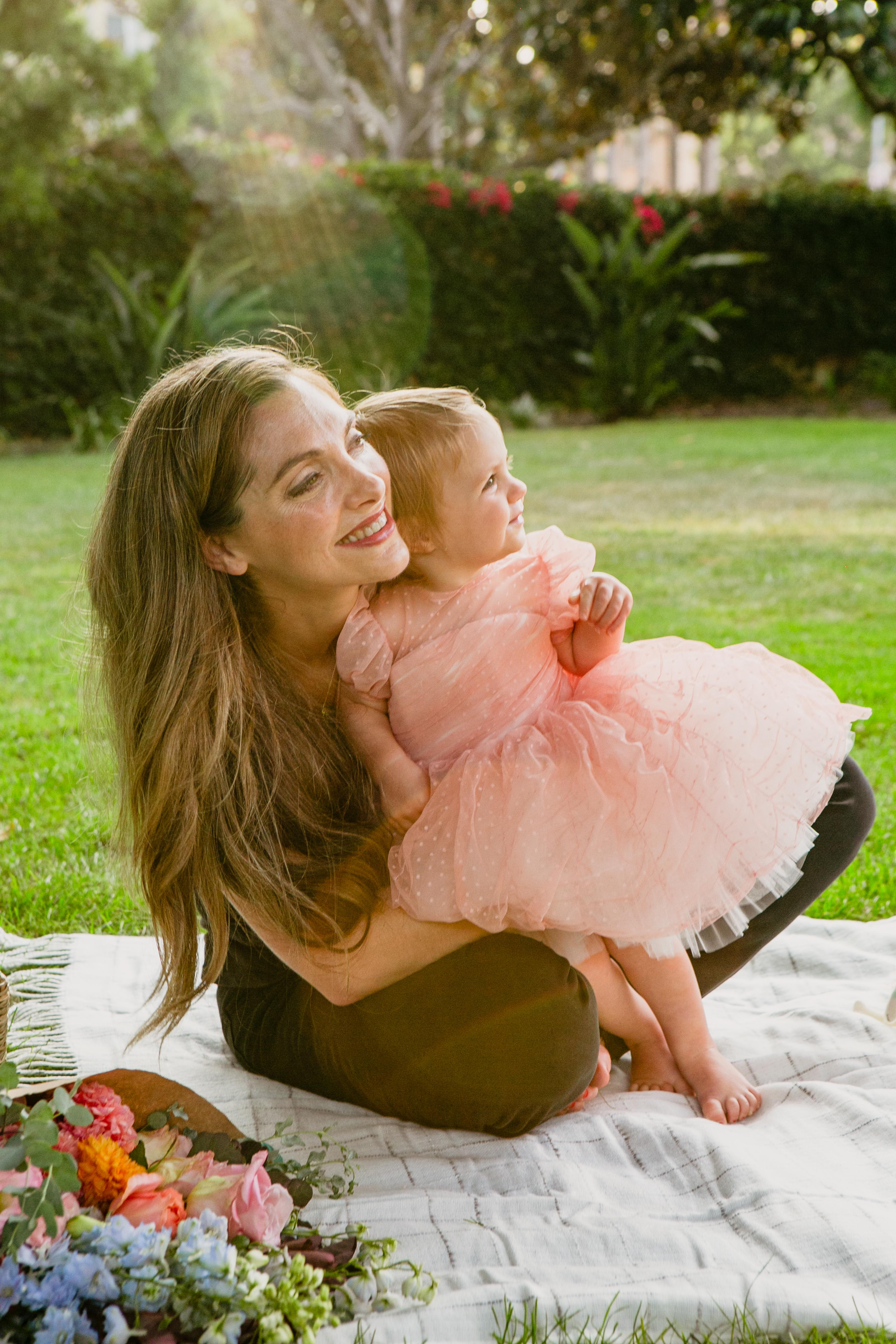 pink dress birthday picnic hugs